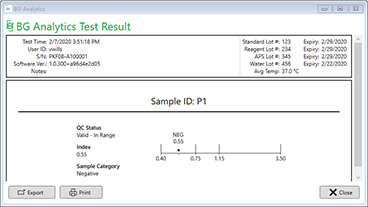 BGA Test Results Screen